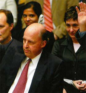 Virginia Bennett with John Dimitri Negroponte at U.N. headquarters