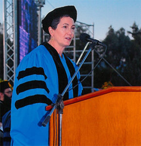 Virginia Bennett addressing graduates at the American College of Greece