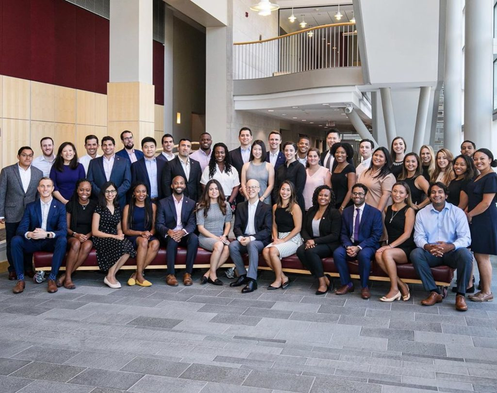 MBAs pose for a professional group photo