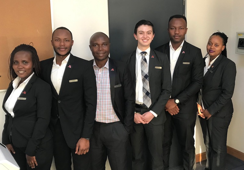 Alex with five other Marriott employees