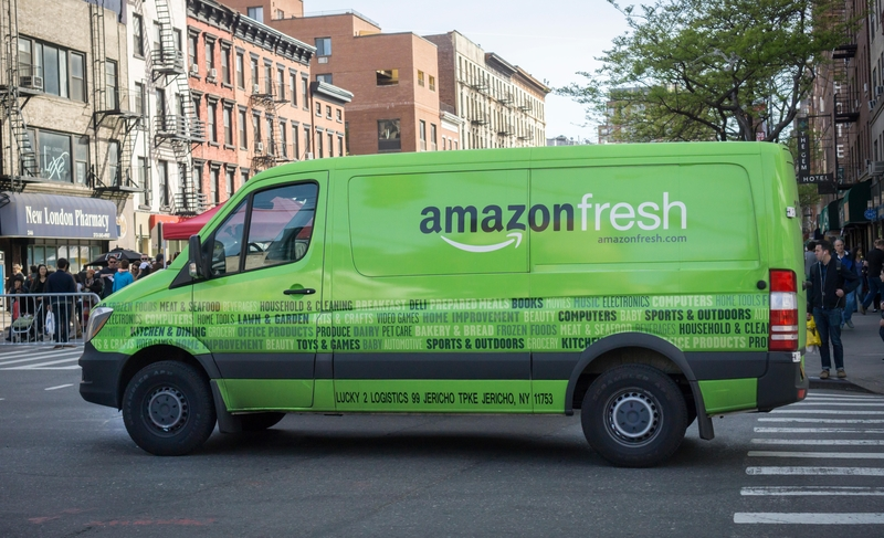 Amazon Fresh delivery van in an urban area