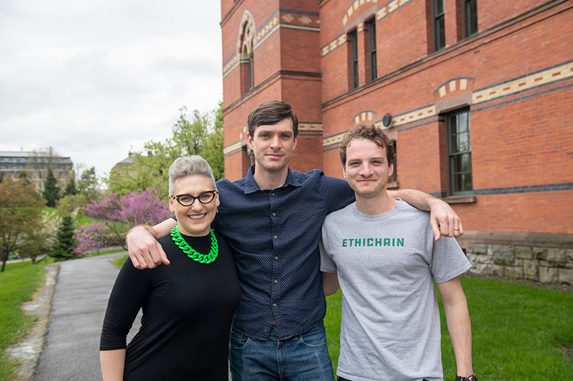 photo of Ethichain founders (left to right) Sara Schmitt, Sean Leland Swinford, and Andre Bordokan, all MBA '19