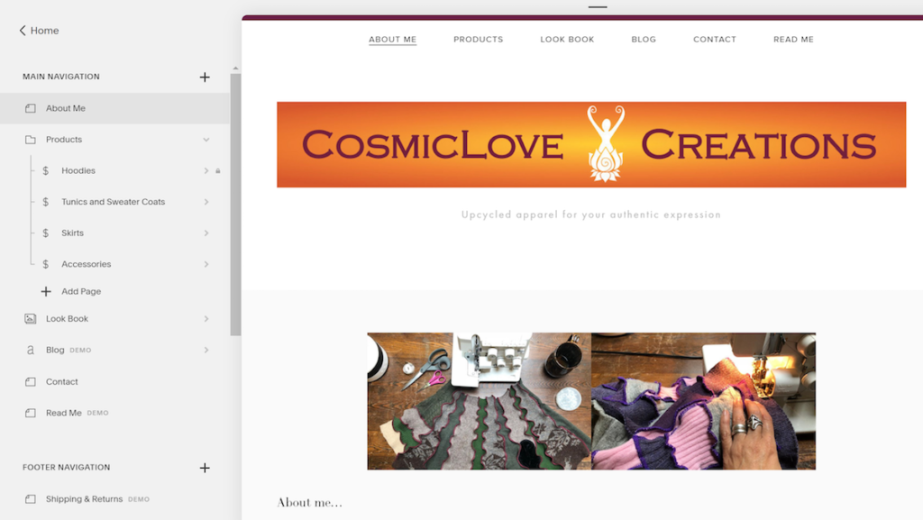 Screenshot showing a website builder tool the homepage of the newly created CosmicLove Creations site