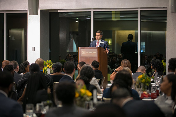 Jorge Morales speaking to the awards dinner audience