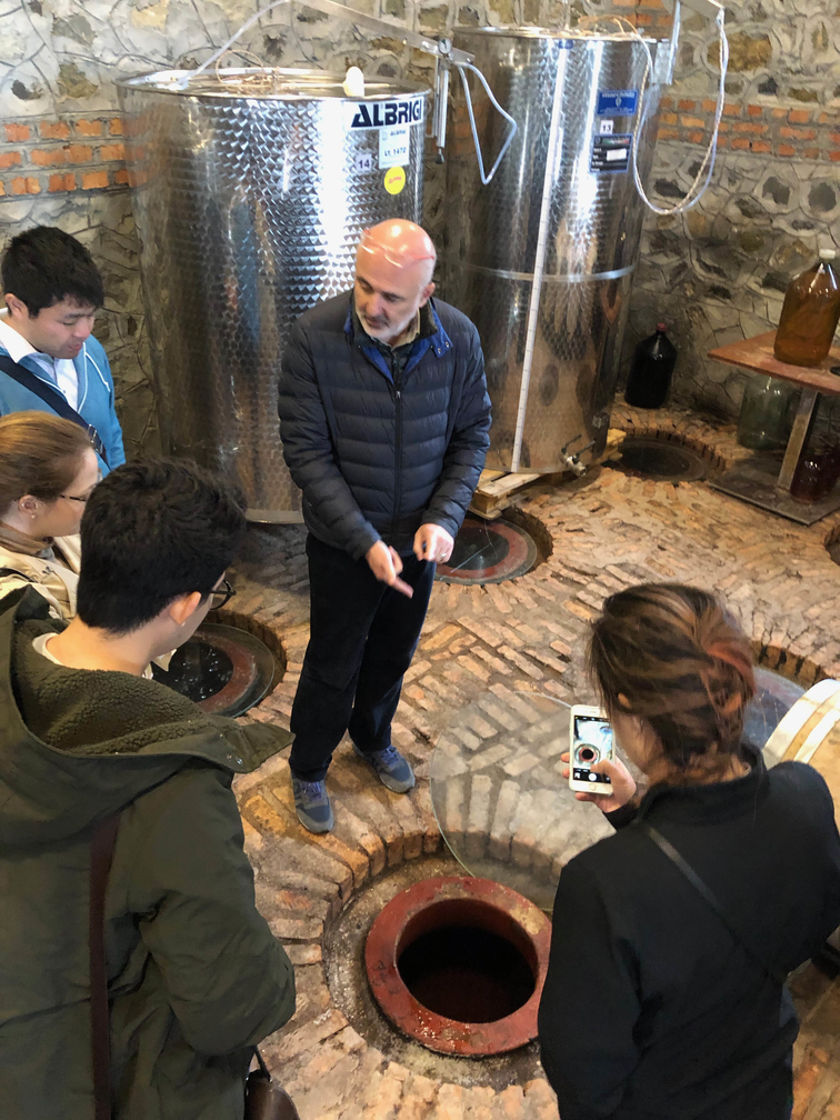 Students looking into holes in the winery floor
