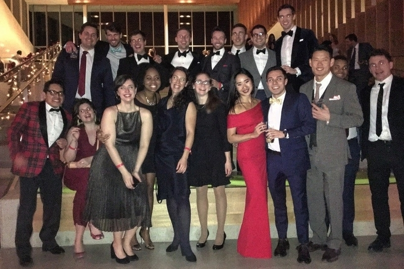 Large group of Park Fellows pose dressed in festive formalwear.]