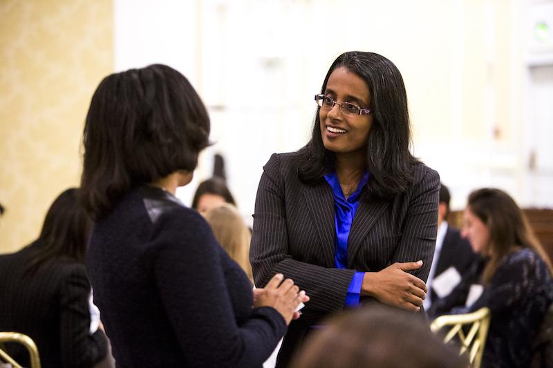 Lakshmi Bhojraj speaks with a student