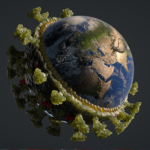 The earth surrounded by germ molecules