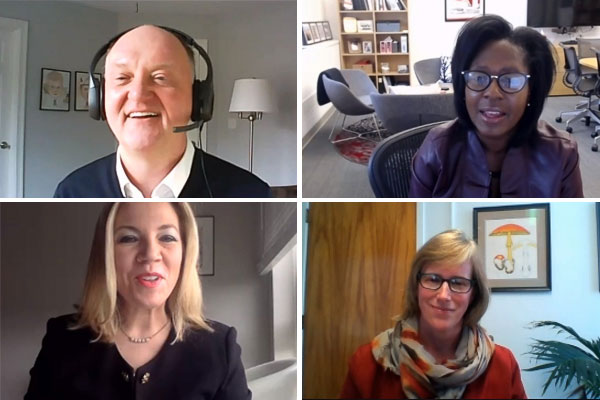 A Zoom screengrab of four webinar participants