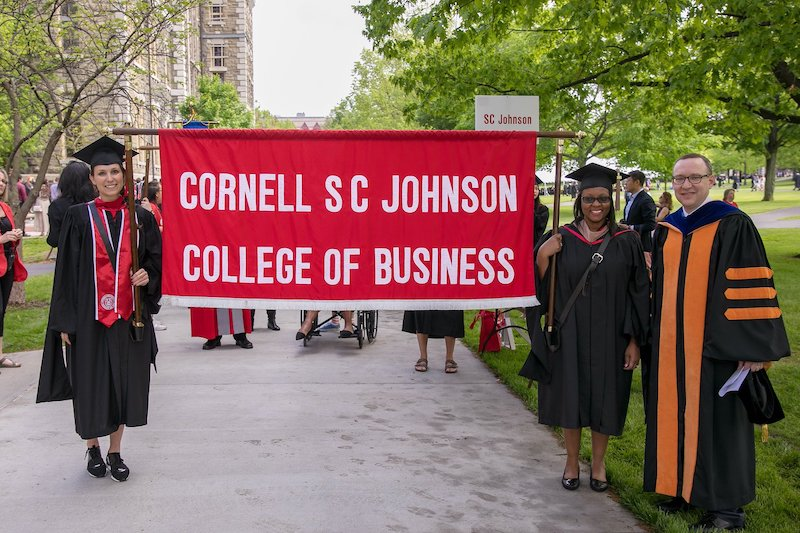SC Johnson College of Business commencement banner and bearers