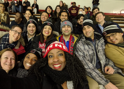 Jescenia and classmates at a Cornell hockey game