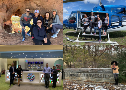 A collage of Jacer's photo: hiking, in a helicopter, and at Pepsi