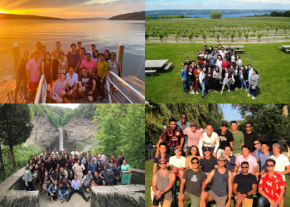 A collage of four group photos in various places in Ithaca