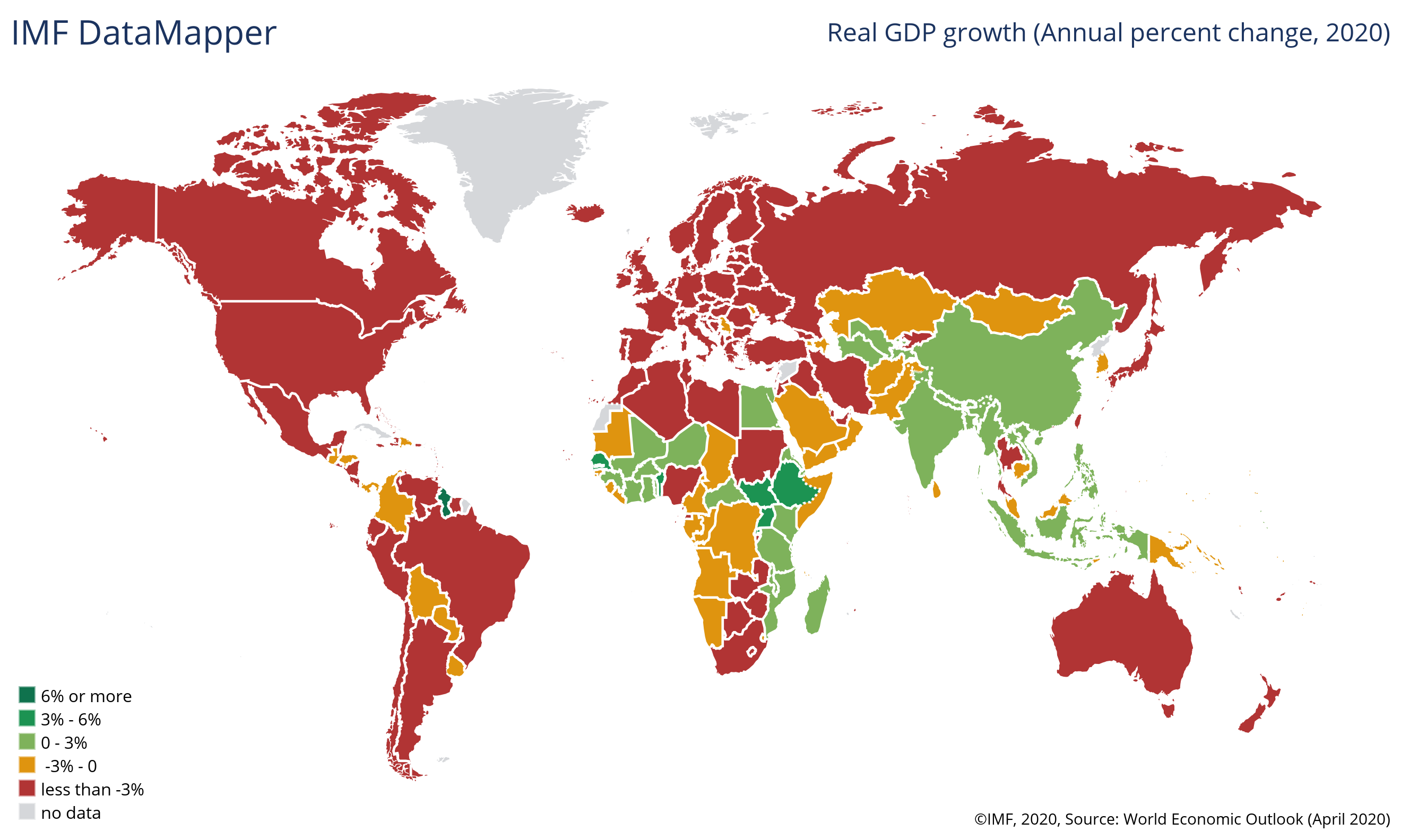 World map chart showing GDP growth rate across countries