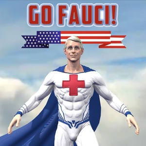 Dr. Fauci depicted as a superhero on GoFauci.com
