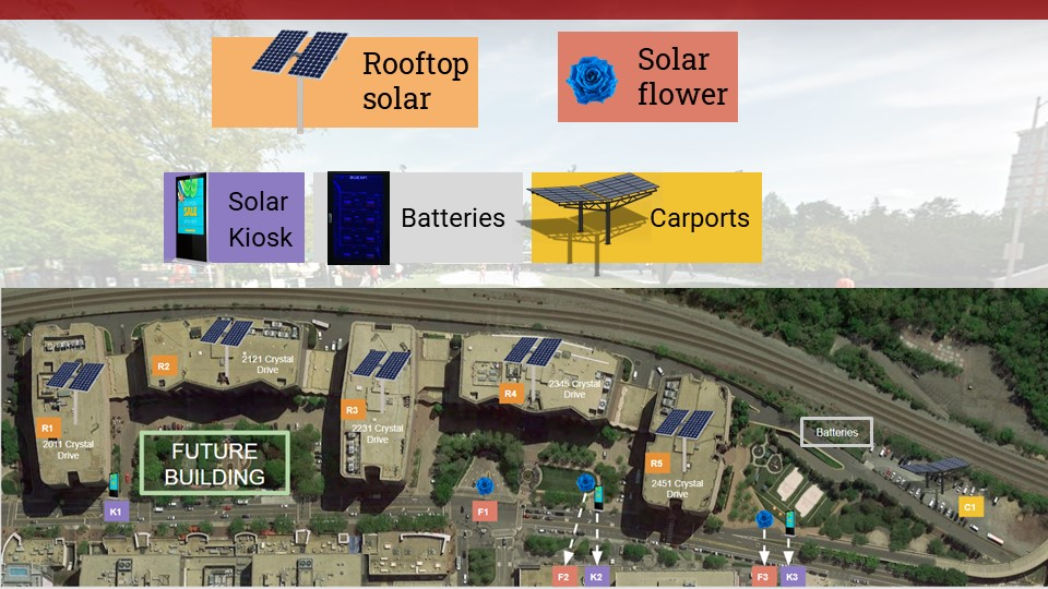 An aerial view of Crystal Park and the proposed solar installations.