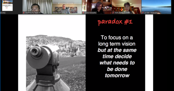 "A Zoom slide reads ""Paradox #1: To focus on long term vision but at the same time decide what needs to be done tomorrow"""