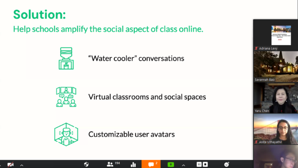 A slide that reads: Solution: Help schools amplify the social aspect of class online