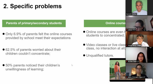 A screenshot shows participants and a presentation slide that details specific problems their business model would solve