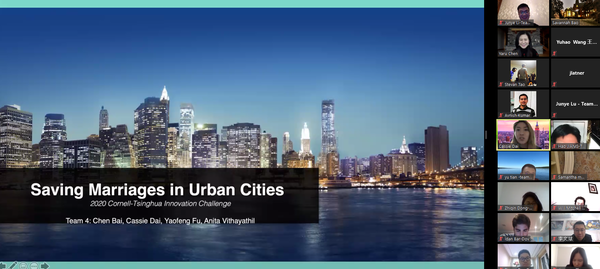 """A Zoom presentation that reads """"Saving Marriages in Urban Cities"""""""