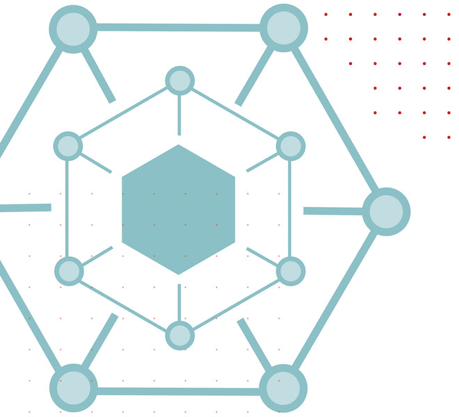 Fintech at Cornell Illustration: Hexagon in blue and red
