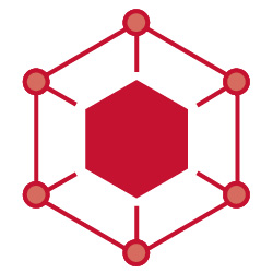 Fintech at Cornell Icon: Hexagon in red