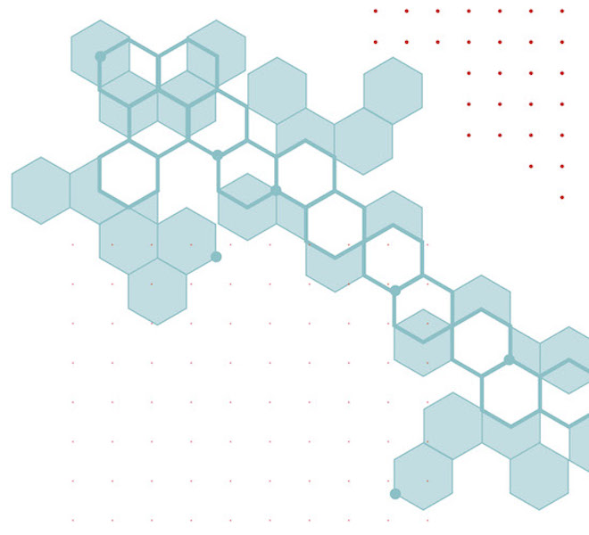 Fintech at Cornell Illustration: Connected blue hexagon pattern