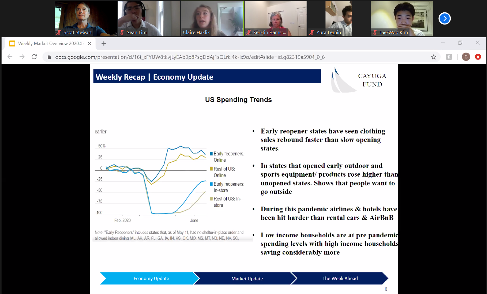 A Zoom screenshot with a presentation that says industry trends