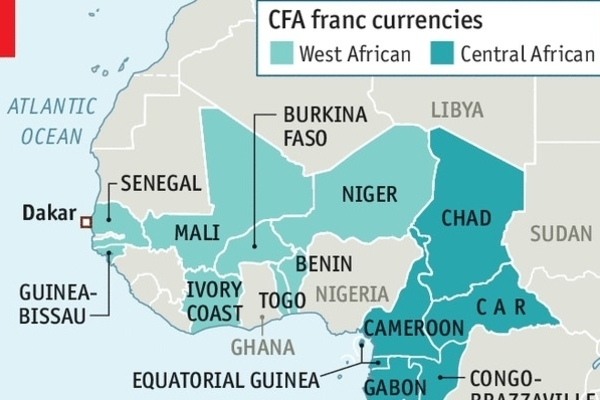 A map of Africa highlighting CFA franc currencies by country