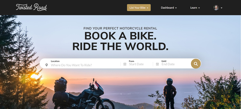 Screen capture of the Twisted Road website: Book a Bike, Ride the World
