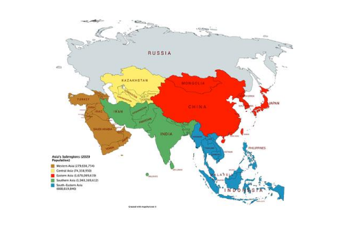 Asia's Subregions map. The map highlights the Asian countries.