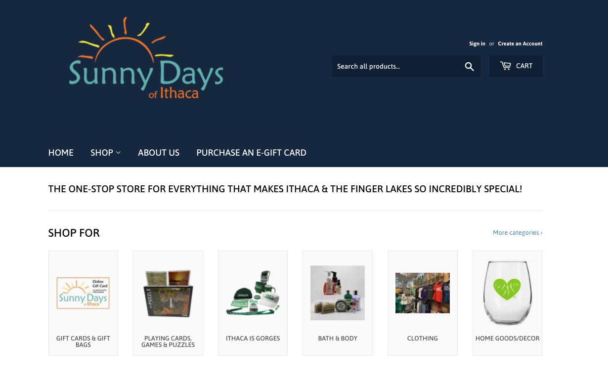Image of the homepage for Sunny Days of Ithaca