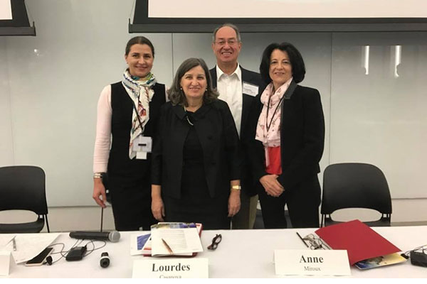 photo (left to right) Veneta Andonova, dean of the Faculty of Management at the University of Los Andes Colombia, Lourdes Casanova, Gail and Roberto Cañizares Director of the Emerging Markets Institute, Roberto Cañizares '71, MBA '74, and Anne Miroux, standing behind a conference table at the 2017 Emerging Markets Institute conference, Nov. 28, 2017