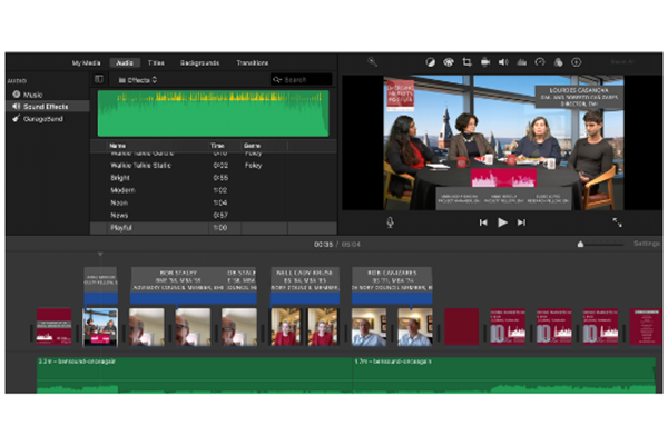 screenshot showing editing tools while editing a video about EMI's founders