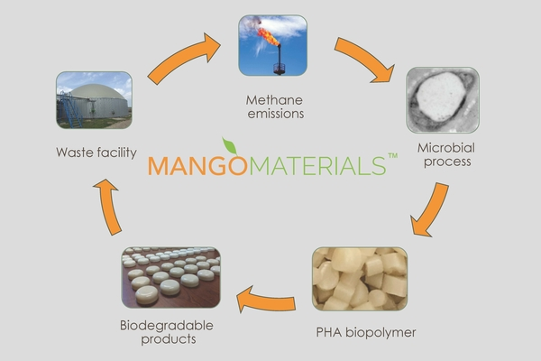 An image of the circular economy of Mango Materials' process showing pictures of methane gas, microbial process, PHA biopolymer, biodegradeable products and waste facility back to methane with arrows between each picture.