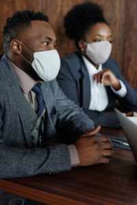 Stock photo of interns with masks