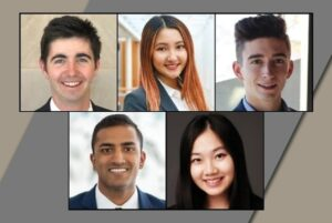 Five Cornell undergraduate students, including two women and three men.
