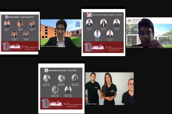 Slides with photos of each of the winning teams that participated in the EMI case competition, along with screen shots of some participants presenting at the conference.