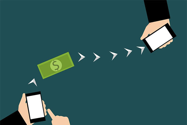 illustration depicting two hands holding cell phones with arrows showing a transfer of a dollar from one phone to the other