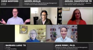 Screenshot of webinar participants. Webinar panelists top: Chris Wofford, Aaron Adalja, Abigail Charpentier '95, Bottom: Barbara Lang '78, and Jamie Perry