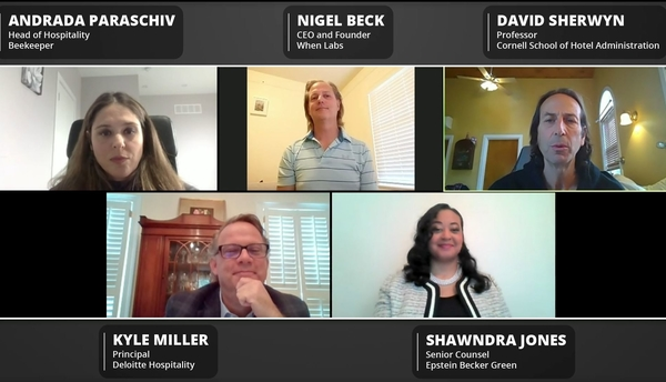 A group picture of panelist from the Employee-Oriented Tech webinar: Andrada Paraschiv from Beekeeper, Nigel Beck from When Labs, David Sherwyn from Cornell, Kyle Miller, from Deloitte Hospitality, and Shawndra Jones from Epstein Becker Green.