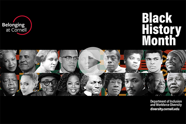 Zoom background with text: Belonging at Cornell and Black History Month and headshots of key Black historic figures