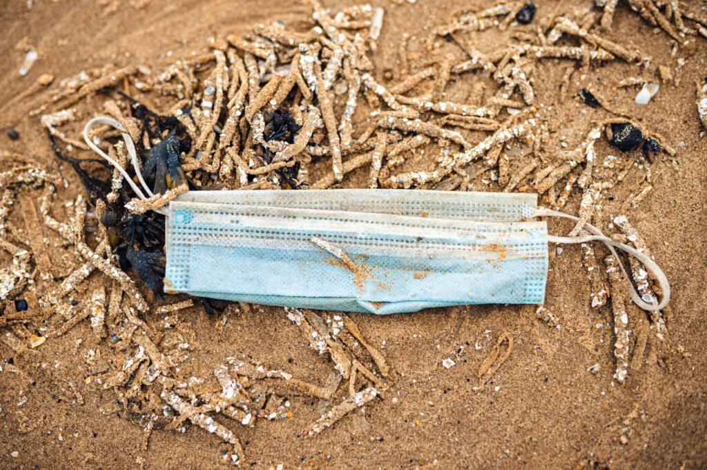 Mask litter on beach
