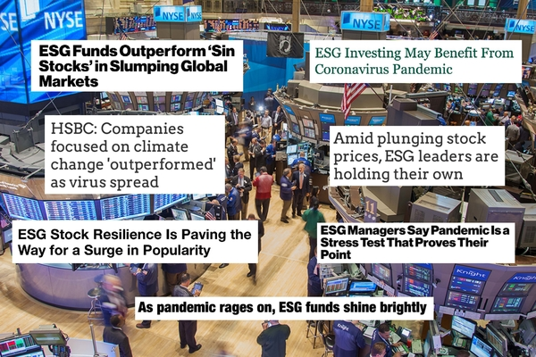 Headlines focusing on ESG stock resilience superimposed on a photo of a stock market exchange flor