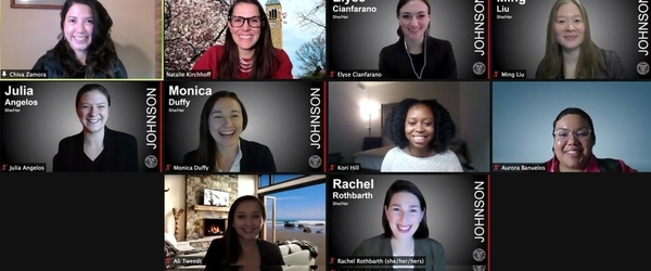 A screenshot of a virtual meeting of the Women's Management Council Board.