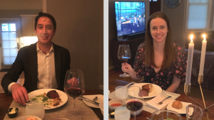 A Photo of Lindsay McAleer, a graduate of Cornell's College of Human Ecology in 2009, and her husband, enjoying a delivery service meal from Canlis for her wedding anniversary dinner.