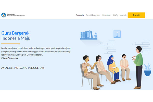 On the right side is a cartoon image of 4 people sitting in chairs in a semi-circle facing a person standing holding a book; on the left side is text in Bahasa Indonesia.