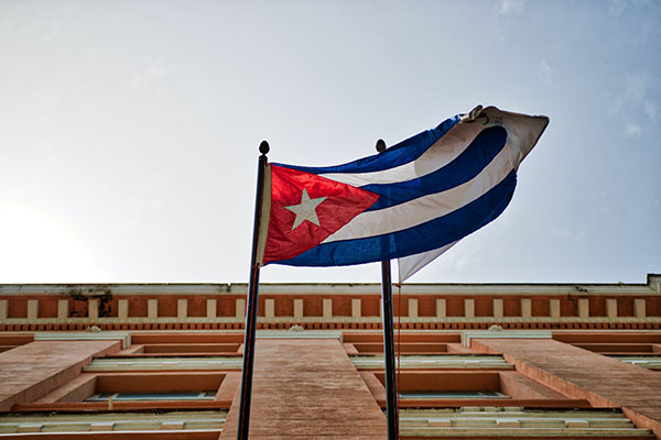 Cuban flag in front a building