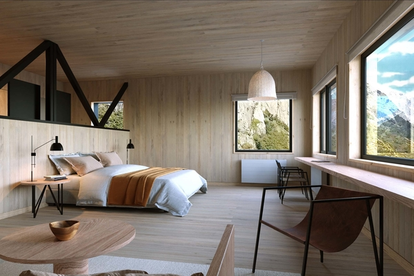 a spacious, light-filled hotel room with many windows