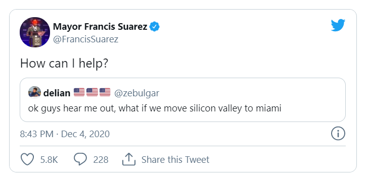 """Screenshot of Miami Mayor Francis Suarez's tweet, asking """"How can I help?"""" in response to a tweet that said """"ok guys hear me out, what if we move silicon valley to miami."""""""